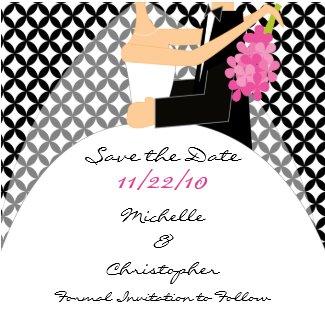 Trendy Bride & Groom Save The Date Magnet magnet