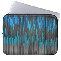 Trendy Bright Blue Black  ZigZag Chevron Pattern Computer Sleeve