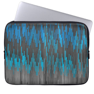 Trendy Bright Blue Black  ZigZag Chevron Pattern Computer Sleeve
