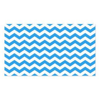 Trendy, bright blue chevron zigzag stripes. Double-Sided standard business cards (Pack of 100)