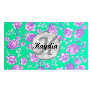 Trendy Bright Blue Teal & Purple  Floral Monogram Business Card