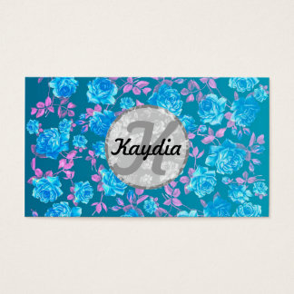 Trendy Bright Blue Teal Vintage Floral Monogram Business Card