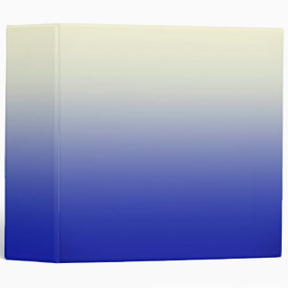 Trendy Bright Blue to Vintage White Ombre Gradient 3 Ring Binder