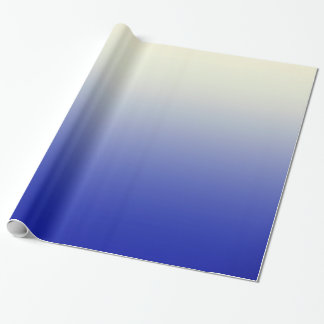Trendy Bright Blue to Vintage White Ombre Gradient Wrapping Paper