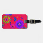 Trendy Bright Colored Floral Bag Tag
