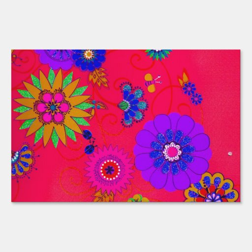 Trendy Bright Colored Floral Yard Signs