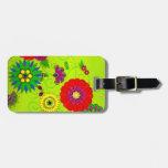 Trendy Bright Floral Print Bag Tags