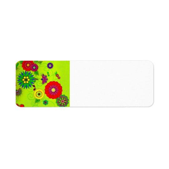 Trendy Bright Floral Print Label