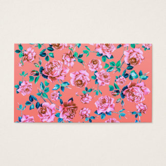 Trendy Bright Girly Pink Vintage Floral Monogram Business Card