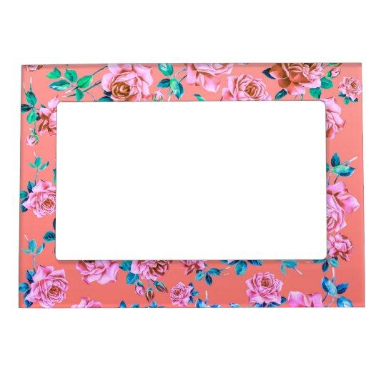 Trendy Bright Girly Pink Vintage Floral Monogram Magnetic