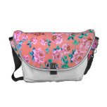 Trendy Bright Girly Pink Vintage Floral Monogram Courier Bag