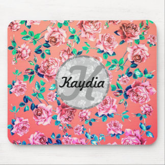 Trendy Bright Girly Pink Vintage Floral Monogram Mouse Pad
