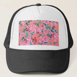 Trendy Bright Girly Pink Vintage Floral Monogram Trucker Hat