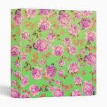 Trendy Bright Lime Green Vintage Elegant Floral Vinyl Binder
