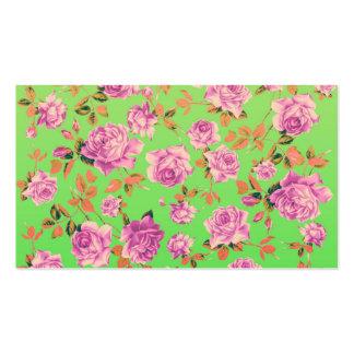 Trendy Bright Lime Green Vintage Elegant Floral Business Card