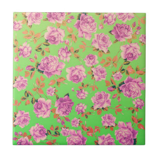 Trendy Bright Lime Green Vintage Elegant Floral Ceramic Tile