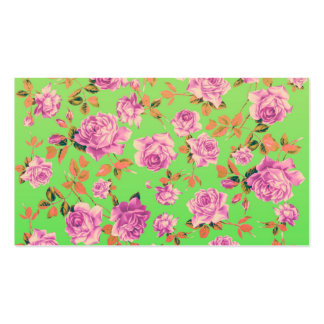 Trendy Bright Lime Green Vintage Elegant Floral Double-Sided Standard Business Cards (Pack Of 100)