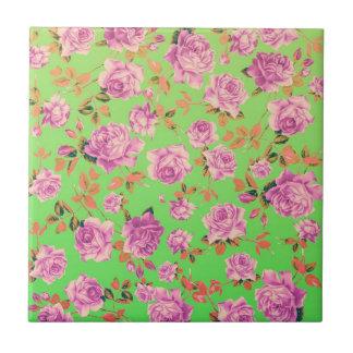 Trendy Bright Lime Green Vintage Elegant Floral Ceramic Tile