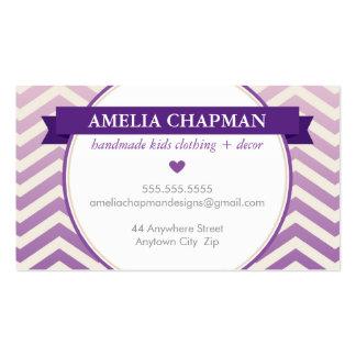 TRENDY bright ombre chevron pattern violet purple Business Card