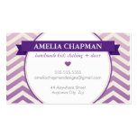 TRENDY bright ombre chevron pattern violet purple Double-Sided Standard Business Cards (Pack Of 100)
