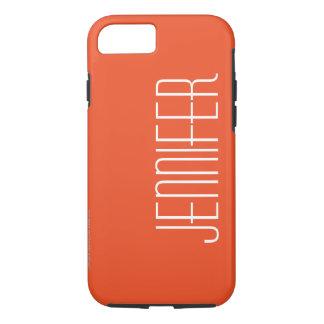 Trendy Bright Orange, Chic Personalized Jumbo Name iPhone 8/7 Case