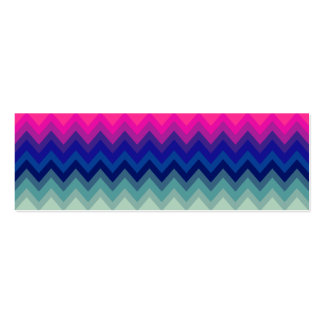 Trendy Bright Pink Teal Ombre Chevron Pattern Mini Business Card