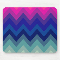 Trendy Bright Pink Teal Ombre Chevron Pattern Mouse Pad