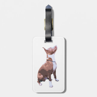 Trendy brown and white Pit Bull dog Bag Tag