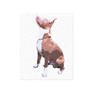 Trendy brown and white Pit Bull dog Canvas Print