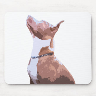 Trendy brown and white Pit Bull dog Mouse Pad