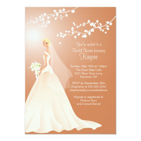 Trendy Brown BLONDE Bride Bridal Shower Invite