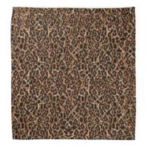 Trendy Brown Exotic Fur Pattern Leopard Print Bandana