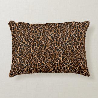 Trendy Brown Exotic Fur Pattern Leopard Print Decorative Pillow