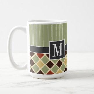 Trendy Brown & Green Diamonds Mugs