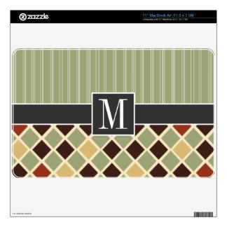 "Trendy Brown & Green Diamonds 11"" MacBook Air Skins"