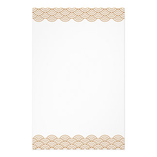 Trendy brown Japanese wave pattern stationery