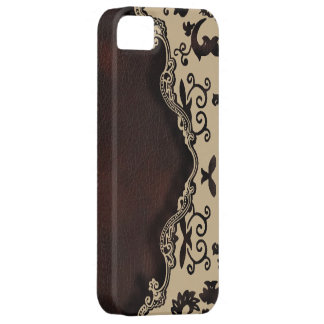 trendy Brown leather cream Damask iphone5 case