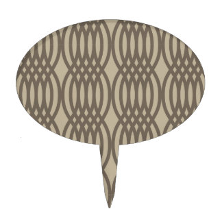 Trendy Brown Moroccan Chain Pattern Cake Topper