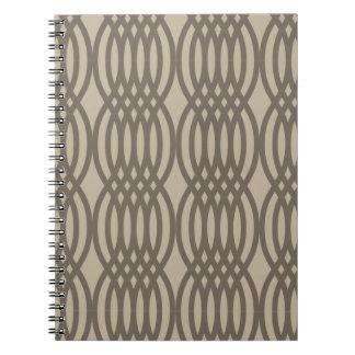 Trendy Brown Moroccan Chain Pattern Spiral Notebooks
