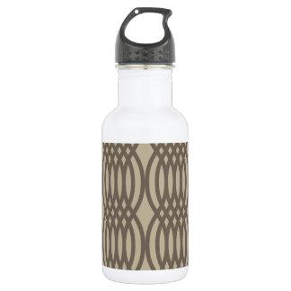Trendy Brown Moroccan Chain Pattern Water Bottle