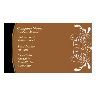Trendy Brown w/ White Swirl Business Card Template