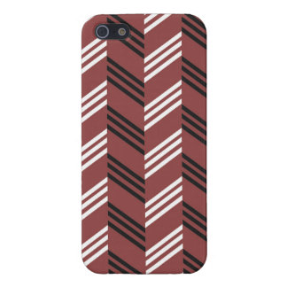 Trendy Brownish Red Zigzag Geometric Pattern Case For iPhone 5