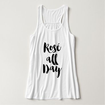 """heartlocked Trendy Brush Typography """"Rosé all Day"""" Tank Top"""