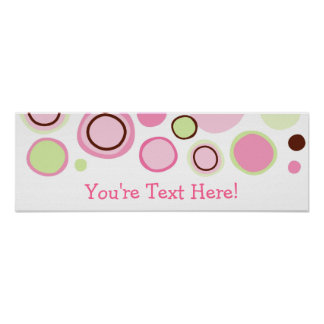 Trendy Bubble Gum Dots Personalized Banner Sign Poster