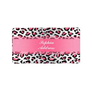trendy bubble gum pink leopard animal print label