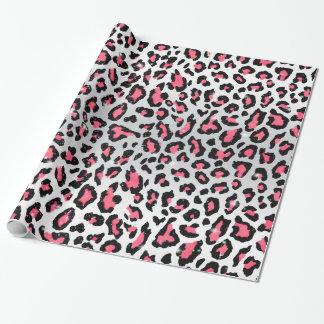 trendy bubble gum pink leopard animal print gift wrap paper