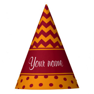 Trendy Burgundy Chevrons Tangerine Polka Dots Party Hat