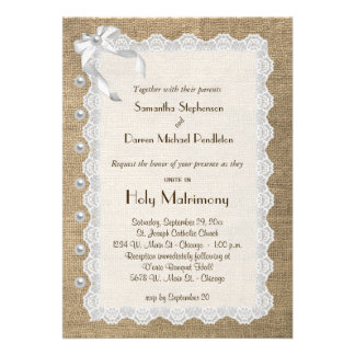 Trendy Burlap Lace And Pearls Wedding Invite