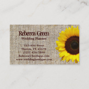 trendy burlap western country garden sunflower business card