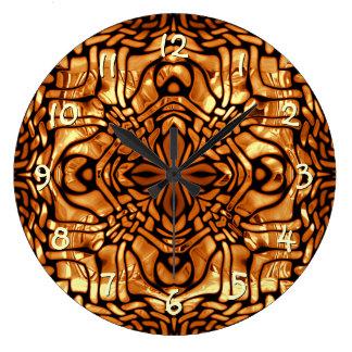 Trendy Burn Orange Brown African Mosaic Pattern Large Clock
